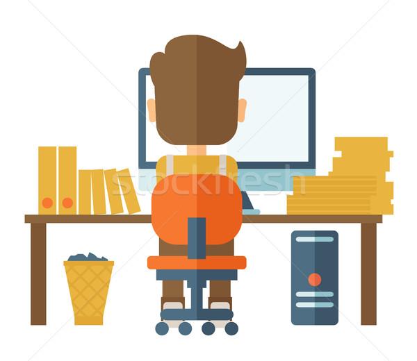 Man werken computer kaukasisch papier Stockfoto © RAStudio