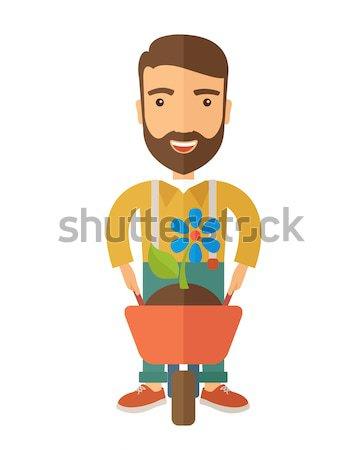男 手押し車 プッシング 工場 花 現代の ストックフォト © RAStudio