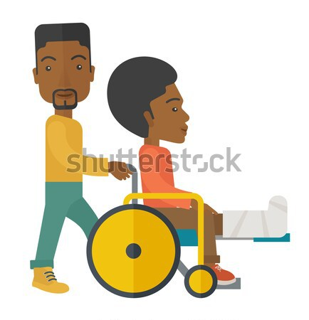 человека коляске сломанной ногой пациент кавказский Сток-фото © RAStudio