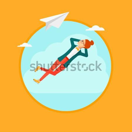 Business woman lying on cloud vector illustration. Stock photo © RAStudio