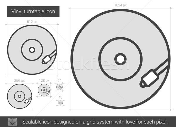 Vinilo plato línea icono vector aislado Foto stock © RAStudio