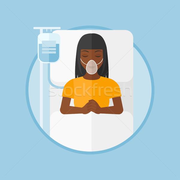 Paciente cama de hospital máscara de oxigênio mulher procedimento médico cair Foto stock © RAStudio