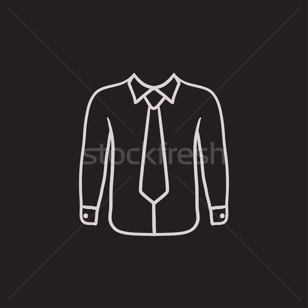 Gömlek kravat kroki ikon vektör yalıtılmış Stok fotoğraf © RAStudio