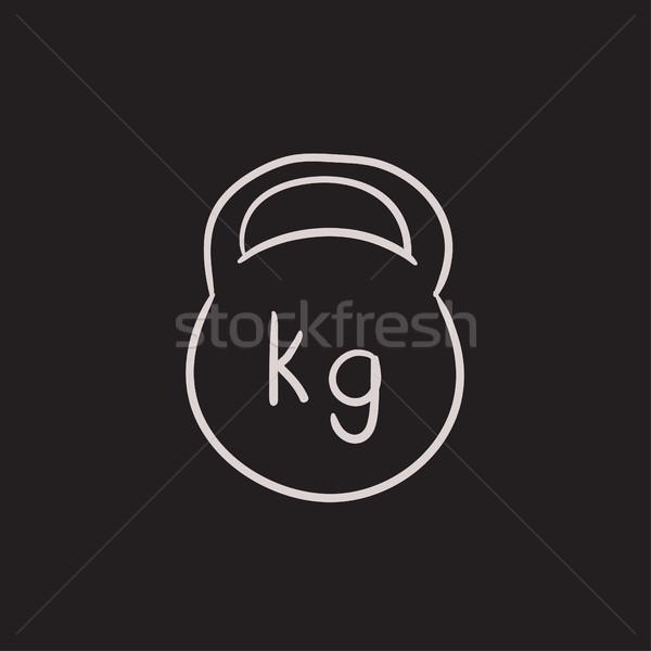 Kettlebell rajz ikon vektor izolált kézzel rajzolt Stock fotó © RAStudio