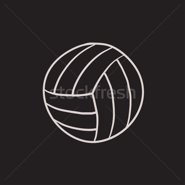 Voleibol bola esboço ícone vetor isolado Foto stock © RAStudio