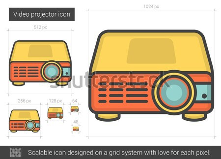 Video projector lijn icon vector geïsoleerd Stockfoto © RAStudio