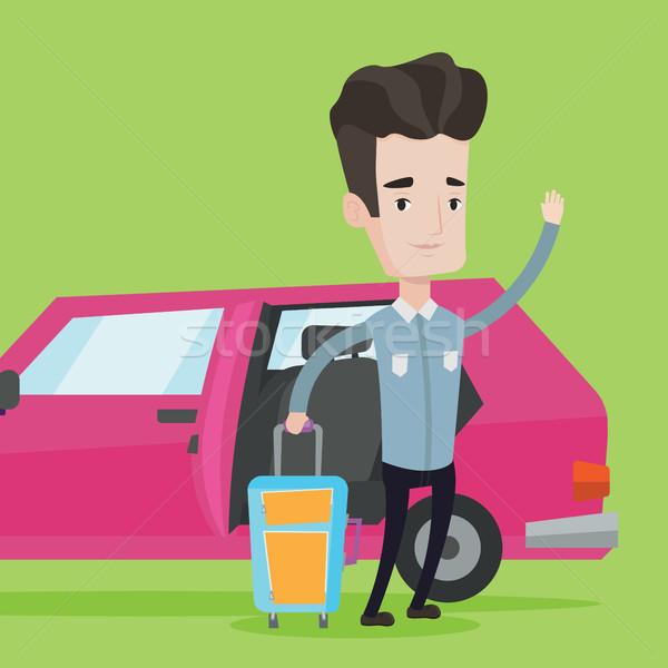 Caucasian man traveling by car vector illustration Stock photo © RAStudio