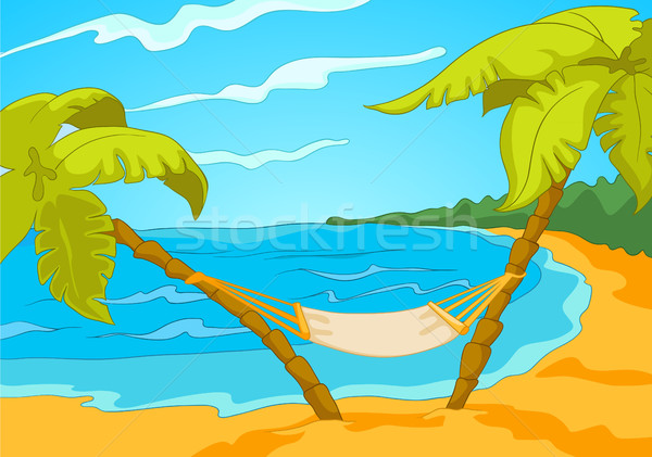 Cartoon background of tropical beach and sea. Stock photo © RAStudio