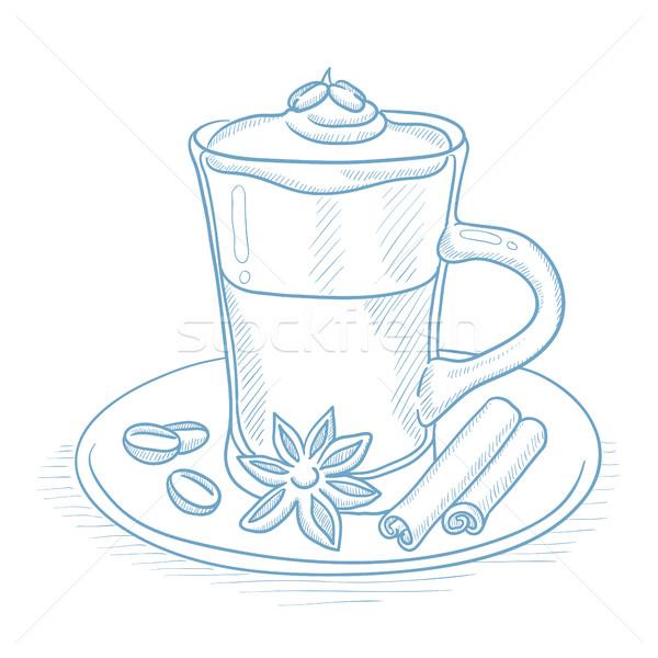 Fincan kahve tarçın kahve fincanı anason kahve çekirdekleri Stok fotoğraf © RAStudio