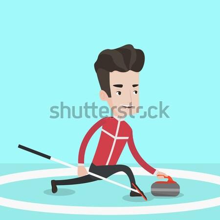 Caucasian man training on jet ski. Stock photo © RAStudio