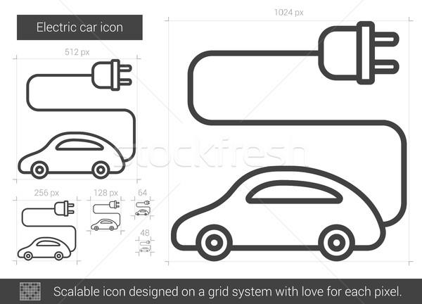 Elektrische auto lijn icon vector geïsoleerd witte Stockfoto © RAStudio