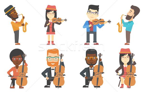 Wektora zestaw muzycy młodych muzyk Zdjęcia stock © RAStudio