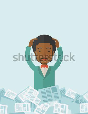 Businessman bankrupt cutting his credit card. Stock photo © RAStudio