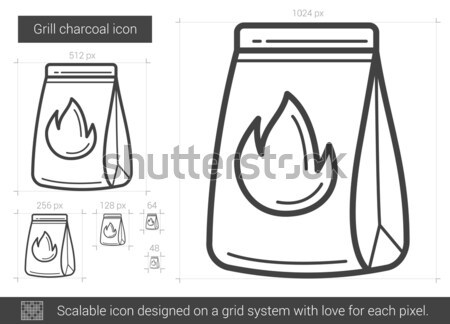 ızgara kömür hat ikon vektör yalıtılmış Stok fotoğraf © RAStudio