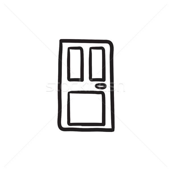 Foto stock: Porta · de · entrada · esboço · ícone · vetor · isolado