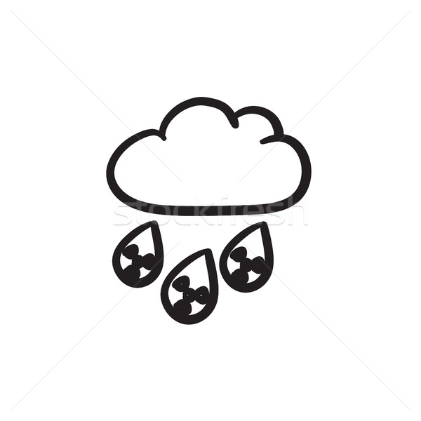 Radioativo nuvem chuva esboço ícone vetor Foto stock © RAStudio