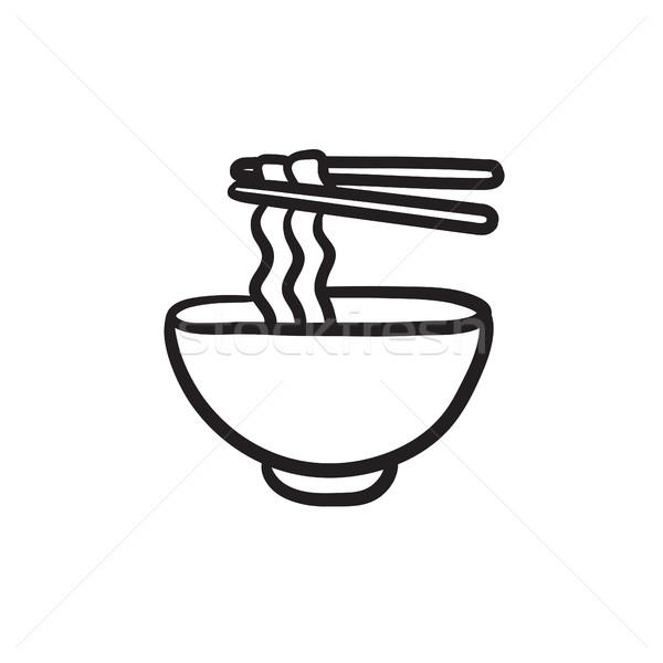 Tál tészta pár evőpálcikák rajz ikon Stock fotó © RAStudio