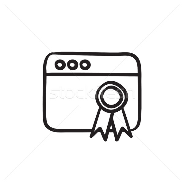 Browser window with winners rosette sketch icon. Stock photo © RAStudio
