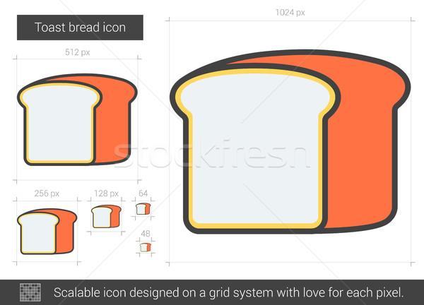Stok fotoğraf: Tost · ekmek · hat · ikon · vektör · yalıtılmış