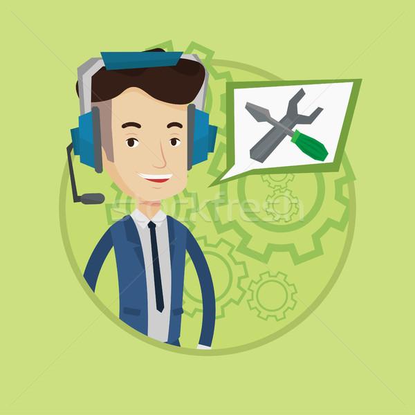 Technische ondersteuning exploitant hoofdtelefoon ingesteld kaukasisch Stockfoto © RAStudio