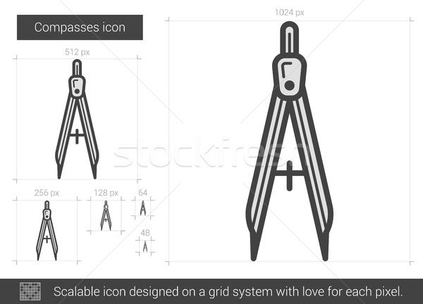 Compasses line icon. Stock photo © RAStudio
