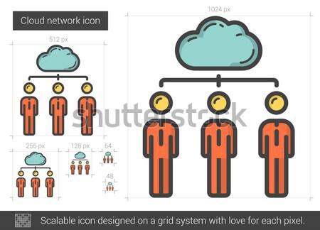 Cloud-netwerk lijn icon vector geïsoleerd witte Stockfoto © RAStudio