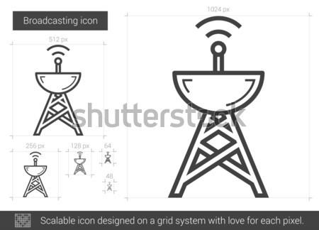 Omroep lijn icon vector geïsoleerd witte Stockfoto © RAStudio