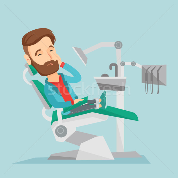 Man suffering in dental chair vector illustration. Stock photo © RAStudio