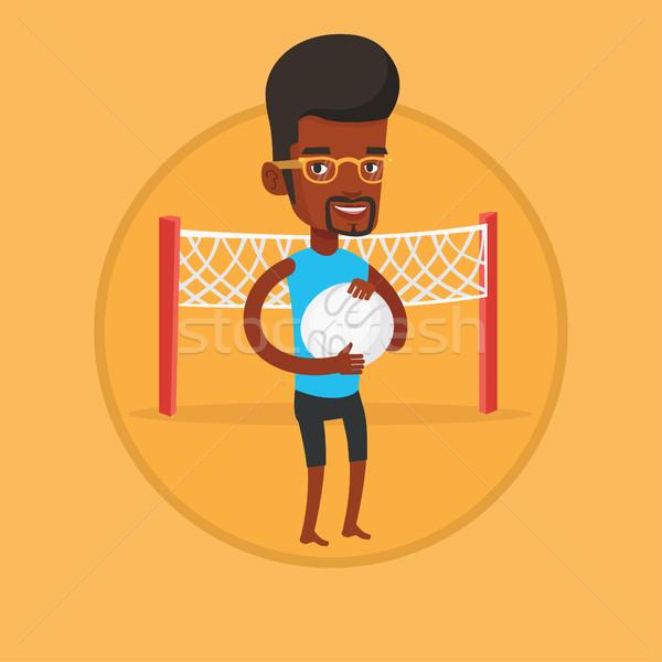 Strand volleybal speler bal handen Stockfoto © RAStudio