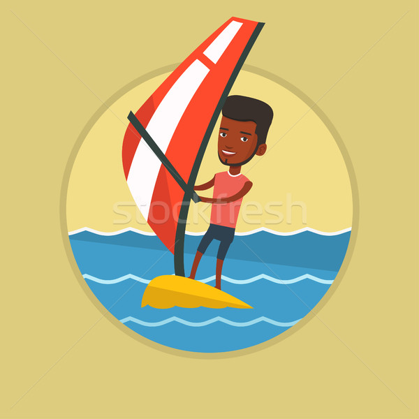 Young man windsurfing in the sea. Stock photo © RAStudio