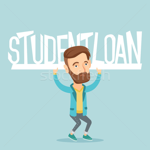 Young man holding sign of student loan. Stock photo © RAStudio