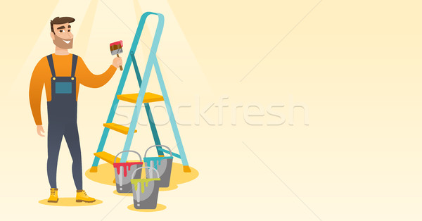 Painter with paint brush vector illustration. Stock photo © RAStudio
