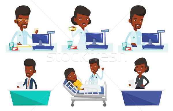 Vector set of doctor and media characters. Stock photo © RAStudio