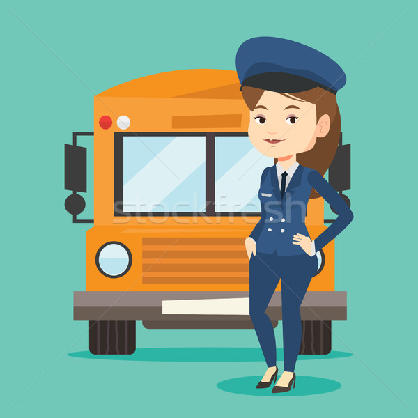 Iskolabusz sofőr fiatal kaukázusi iskola áll Stock fotó © RAStudio
