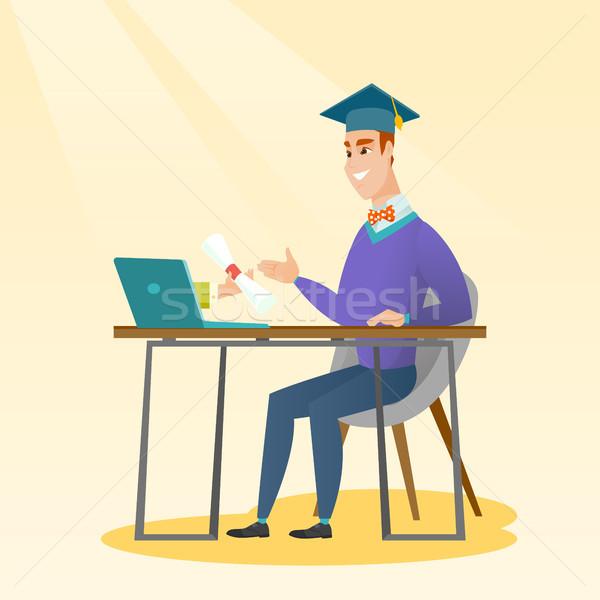Diplômé diplôme ordinateur heureux étudiant graduation Photo stock © RAStudio