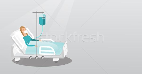 Hasta oksijen maskesi genç kadın kadın tıbbi prosedür Stok fotoğraf © RAStudio