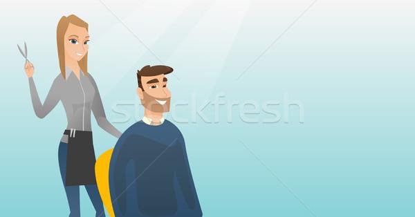 Hairdresser making haircut to hipster man. Stock photo © RAStudio
