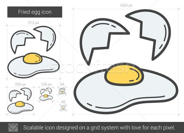 Ovo frito linha ícone vetor isolado branco Foto stock © RAStudio