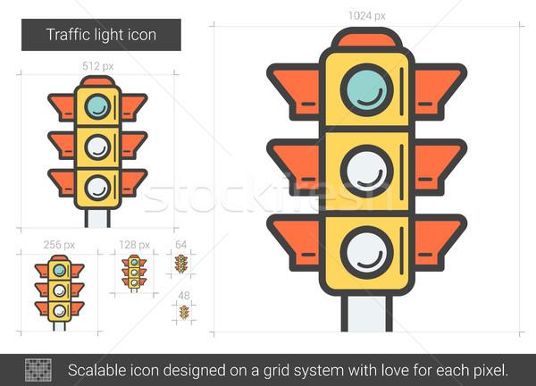Trafik ışığı hat ikon vektör yalıtılmış beyaz Stok fotoğraf © RAStudio