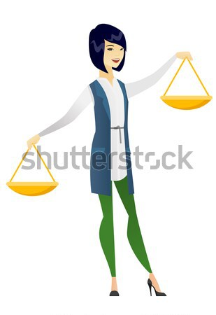 Hindu businessman holding balance scale. Stock photo © RAStudio
