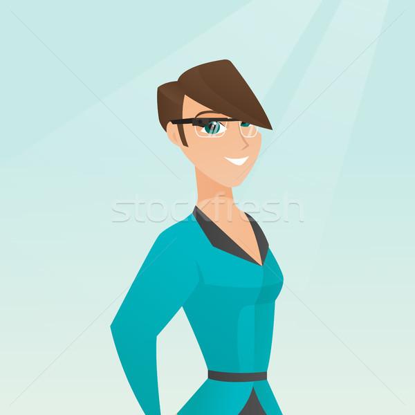 Young caucasian woman wearing smart glasses. Stock photo © RAStudio