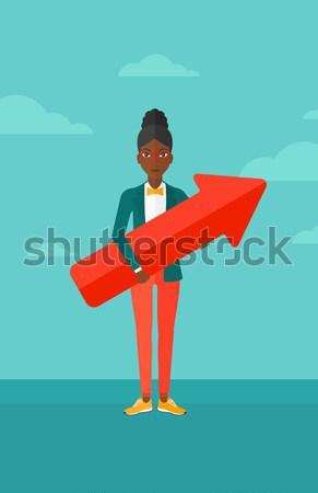 деловая женщина деньги удочка подвесной Сток-фото © RAStudio