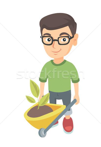Menino empurrando carrinho de mão solo planta caucasiano Foto stock © RAStudio