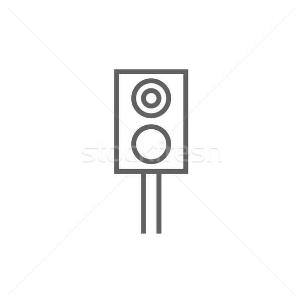 Spoorweg stoplicht lijn icon hoeken web Stockfoto © RAStudio