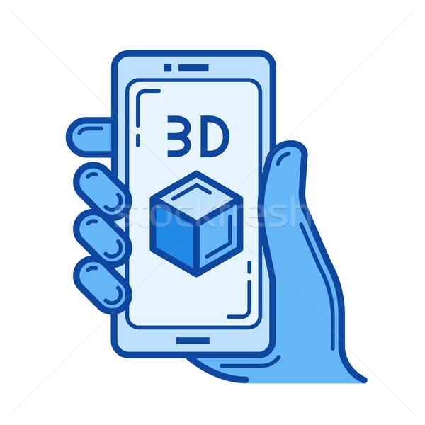 Three d design line icon. Stock photo © RAStudio