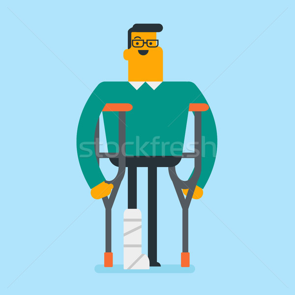 Caucasian white man with broken leg and crutches. Stock photo © RAStudio