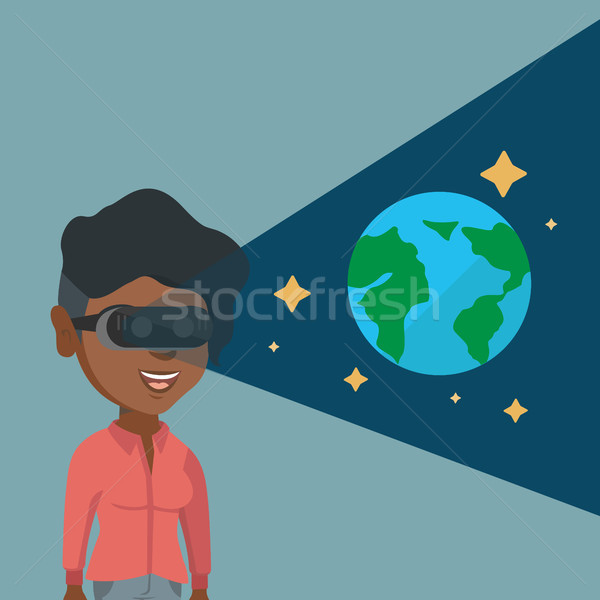 Young woman in vr headset getting in open space. Stock photo © RAStudio