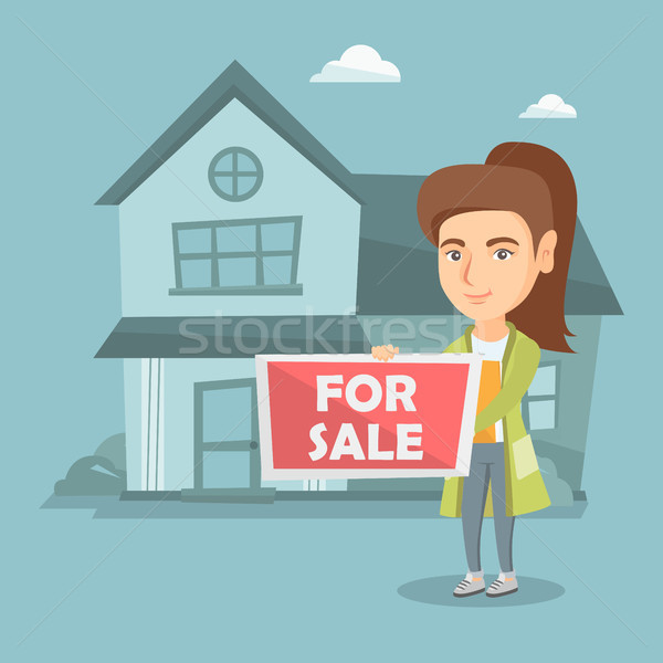 Jovem caucasiano corretor oferta casa venda Foto stock © RAStudio