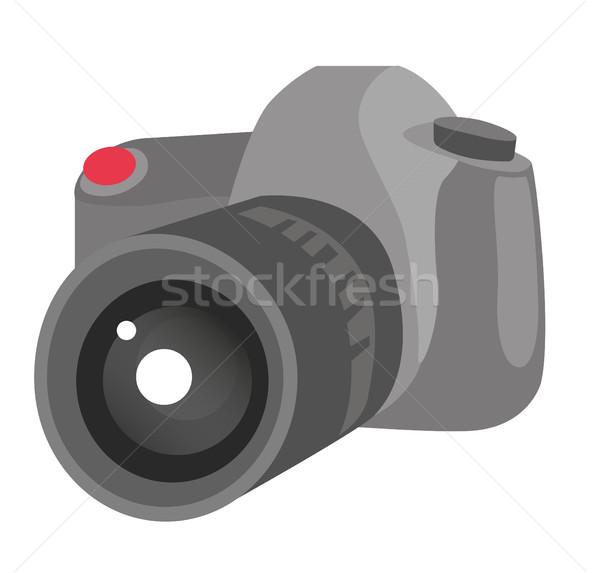 Stock photo: Digital photo camera vector cartoon illustration.