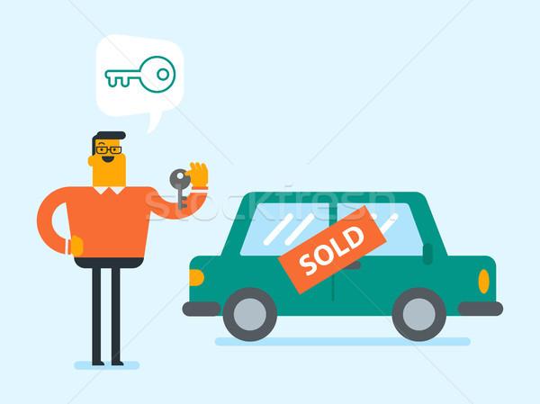 Biały człowiek kluczowych zakupu Zdjęcia stock © RAStudio